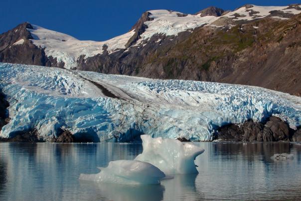 Portage Glacier with icebergs