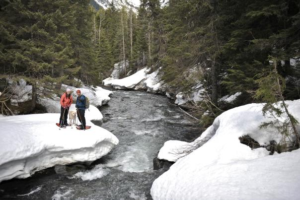 Snowshoeing Winner Creek near Girdwood in winter