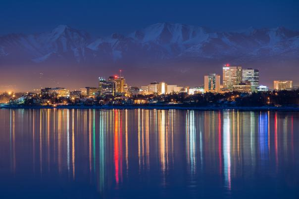 Downtown Anchorage skyline in winter