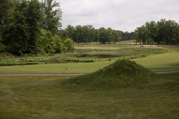 A view down the fairway at Eisenhower Golf Course