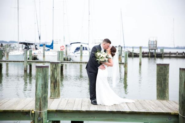 Dockside at the Annapolis Maritime Museum makes for a the perfect wedding photo.