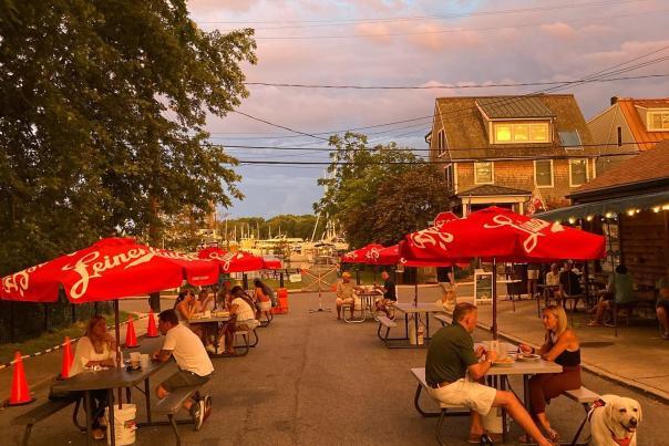 Davis Pub at sunset