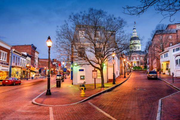 Intersection of Main and Francis Streets, Downtown Annapolis