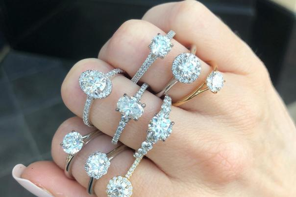 Zachary's Jewelers and an assortment of beautiful diamond engagement rings.