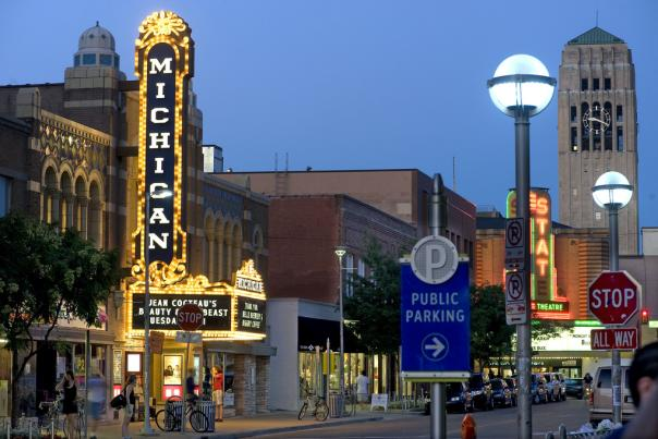 Downtown Ann Arbor And The Michigan Theater Night
