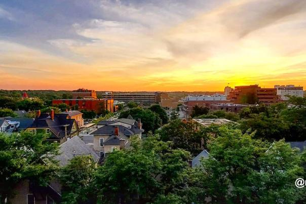 Sunset over wide skyline of Downtown Ann Arbor