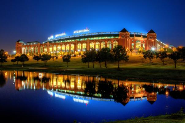 Globe Life Park at night