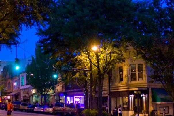 Athens GA downtown night streetscape