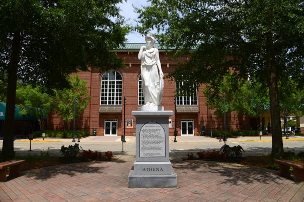 Athena Statue in front of the Classic Center Theatre