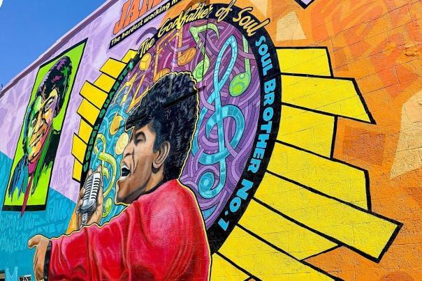 downtown; james brown mural; public art