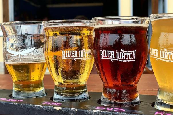 Flight of Beer at Riverwatch Brewery