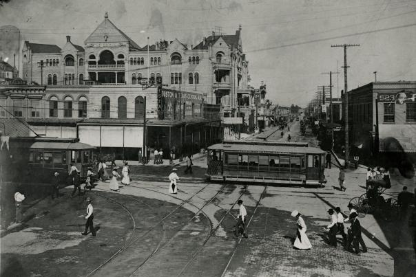 Historic Sixth Street and the Driskill Hotel. C00146, Austin History Center, Austin Public Library.