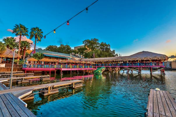 Hula Hut patio from Lake Austin. Courtesy of Hula Hut.