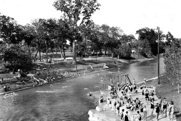 Barton Springs Pool. PICA 01009, Austin History Center, Austin Public Library.