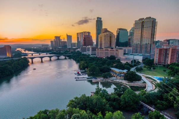 Austin Interactive Map Widget. Sunset Skyline.