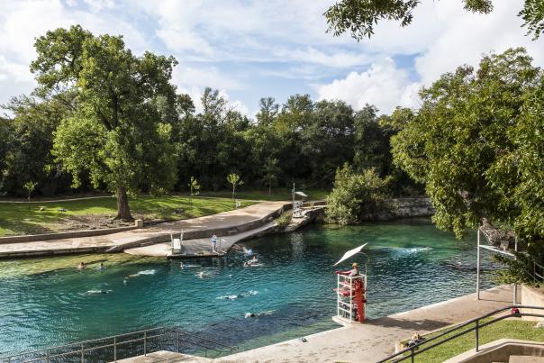 Barton Springs Pool. Photo Credit Austin Convention & Visitors Bureau. 300 dpi.