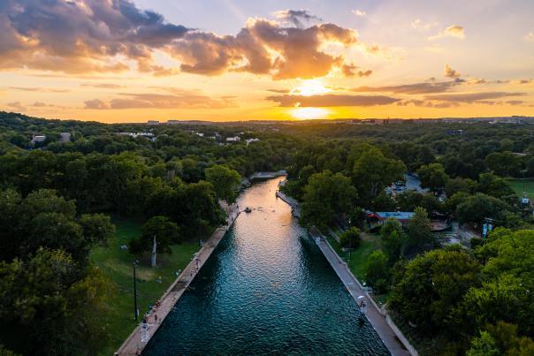 Barton Springs Pool Sunset. Credit Ryan Kyte