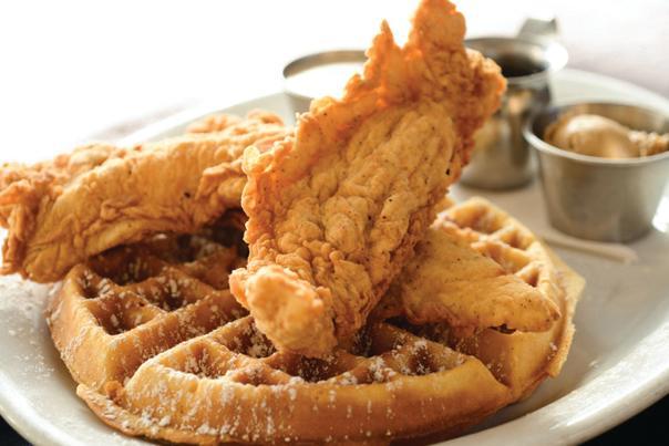 Chicken & Waffles. Courtesy Moonshine Patio Bar & Grill.