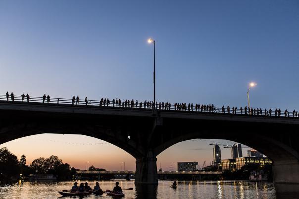 Congress Avenue Bat Bridge. Credit Visit Austin, exp 10-1-21