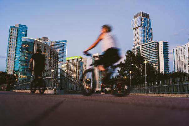 Bikes on the Pfluger Pedestrian Bridge. Courtesy of Visit Austin, owned