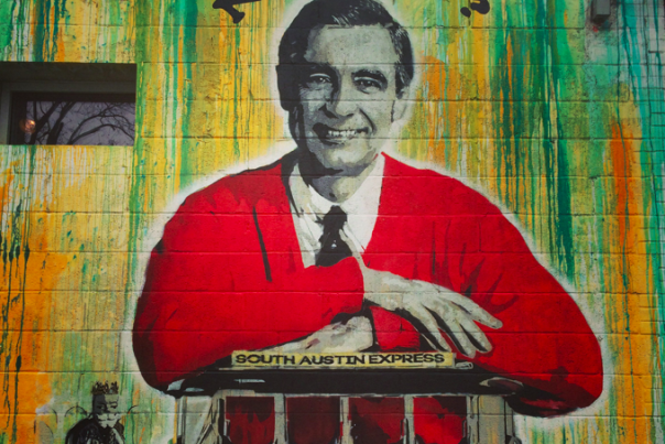Mr. Rogers Mural Outside Home Slice Pizza. Credit Heidi Gollub.