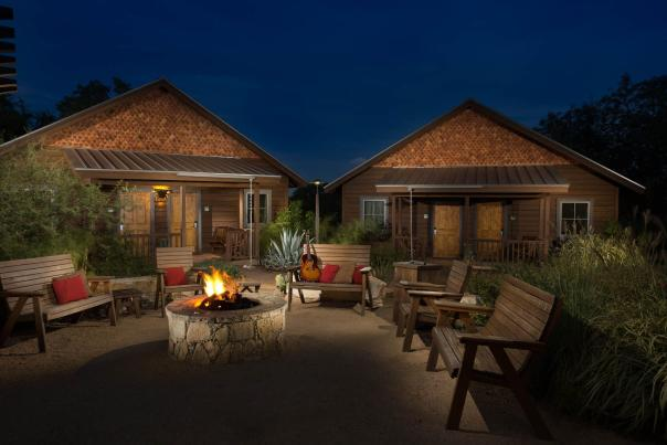 Camp Lucy cabins and fire pit. Credit Jerry Hayes Photography