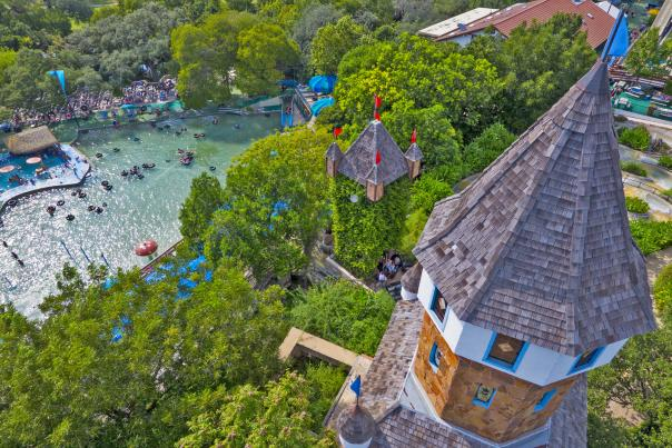 Aerial view of castle and water park. Courtesy of Schlitterbahn New Braunfels.