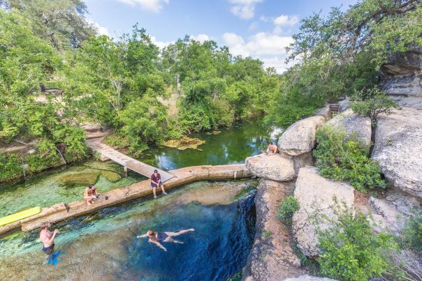 Swimming at Jacob's Well. Credit Pierce Ingram_exp June 2021.
