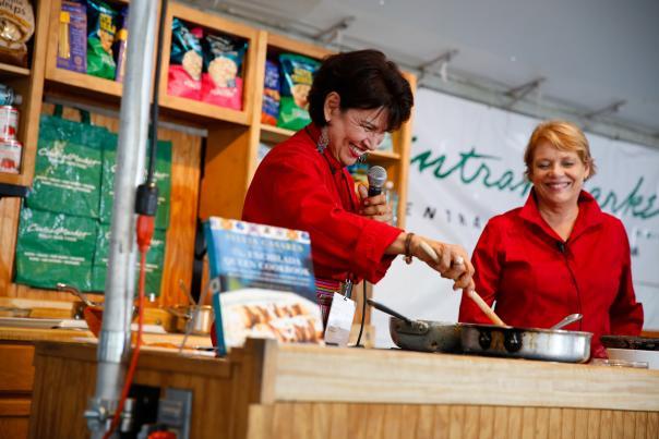 Sylvia Casares cooking at Texas Book Fest. Courtesy of Texas Book Festival.
