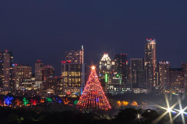 Zilker Tree and Trail of Lights skyline 2016