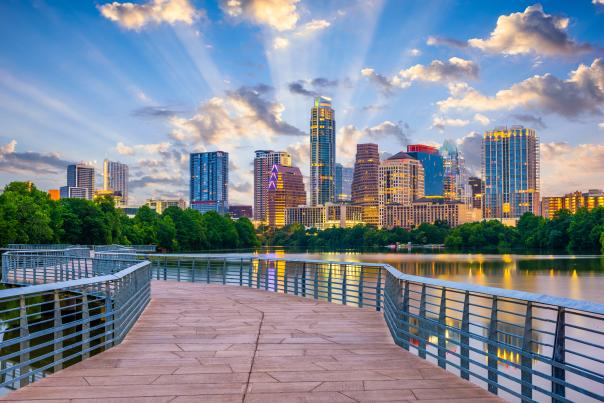 Austin Skyline from the Boardwalk. Credit Sean Pavone, Lifetime Usage.