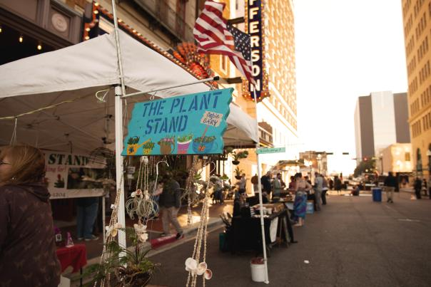 Vendors set up outside the Jefferson Theatre for a festival