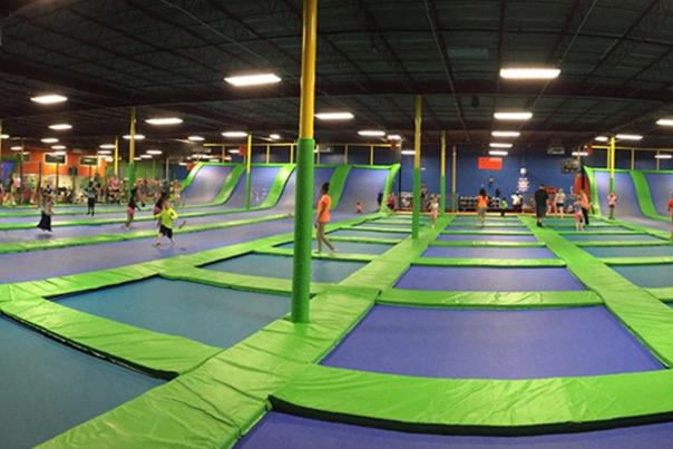 Kids playing on a jumping platform at Jumping World in Beaumont, TX