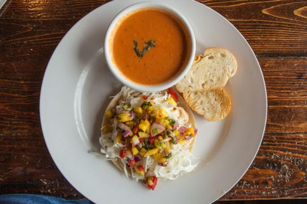 Tomato soup & a fish taco from Katharine & Co in Beaumont