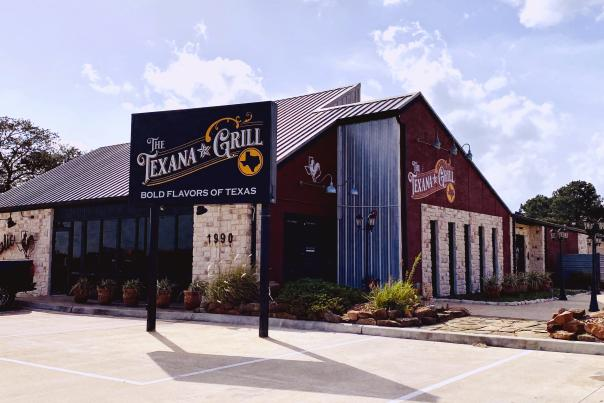 The Texana Grill is located in a brick-and-stone building in Beaumont, TX.