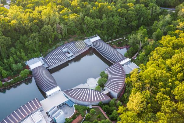 Arial view of Crystal Bridges Museum of American Art in Bentonville Arkansas