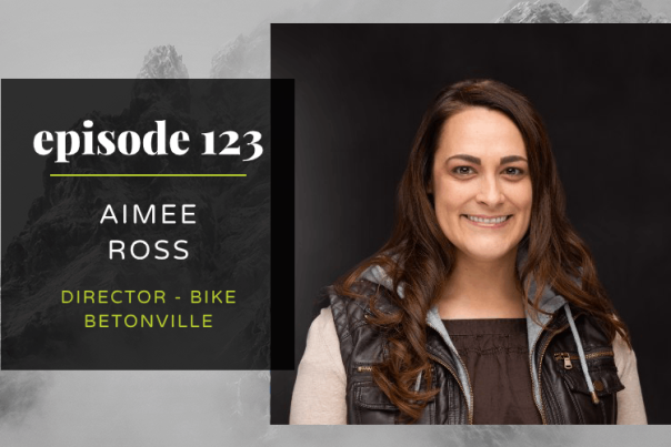 A graphic with a head shot of Visit Bentonville's Aimee Ross, Director of Bike Bentonville.