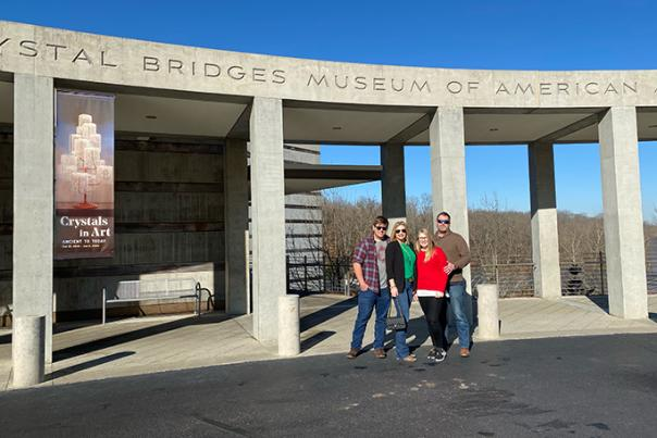 Family standing outside Crystal Bridges in Bentonville, Arkansas
