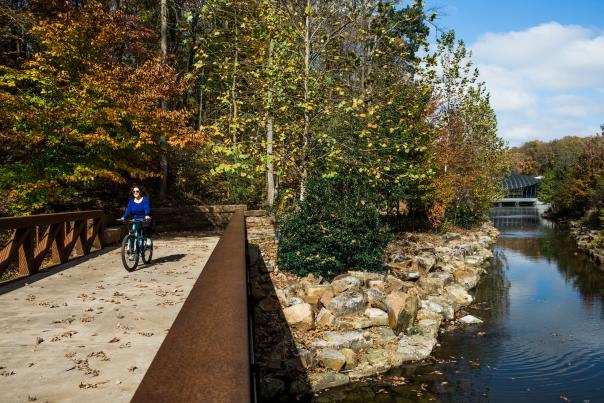 Crystal Bridges Trail with Bike Rider