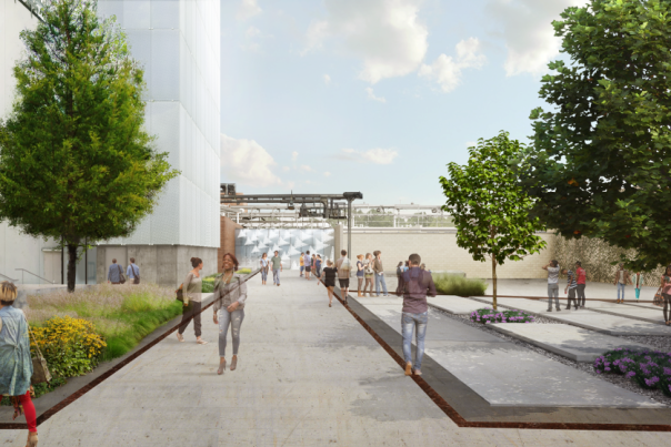 A digital rendering of the exterior walkway leading to the Momentary