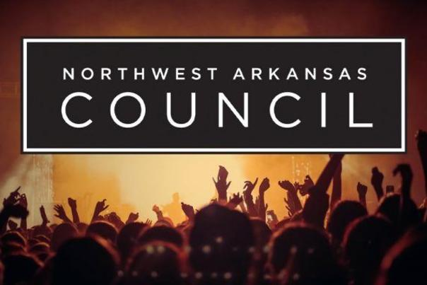"Graphic of a crowd watching a performance on stage with the words ""Northwest Arkansas Council"" in the middle of the screen"