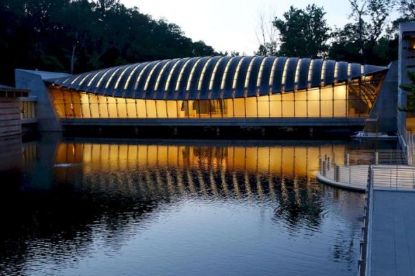 Side view of Crystal Bridges Museum of American Art in Bentonville Arkansas
