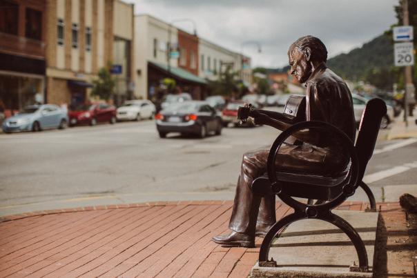 Doc Watson Statue in Downtown Boone