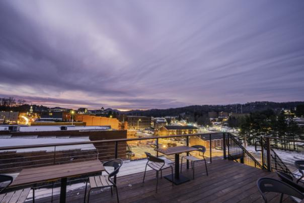 A view of Downtown Boone from the Rooftop Lounge of Horton Hotel