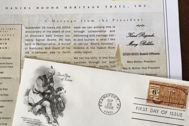 First Day Cover issued on the 148th Anniversary of Boone's Death