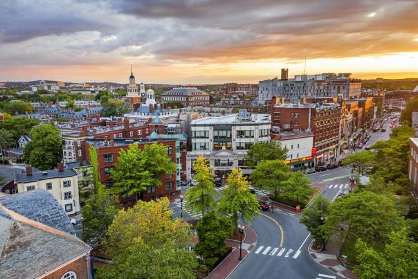 Sunset over buildings that make up Harvard Square