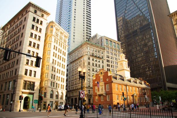 Old State House amid modern buildings