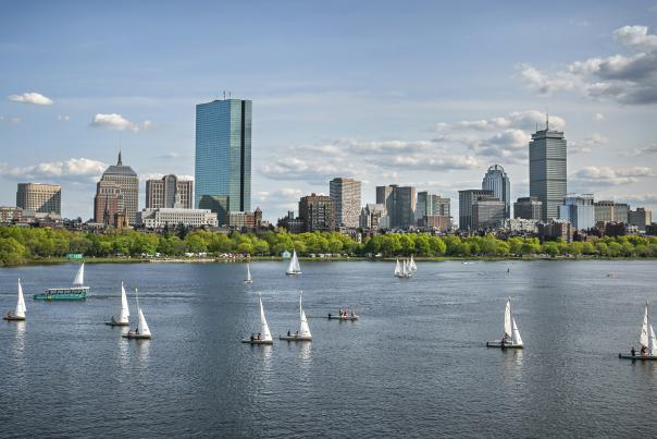 Charles River view of Boston with sailboats