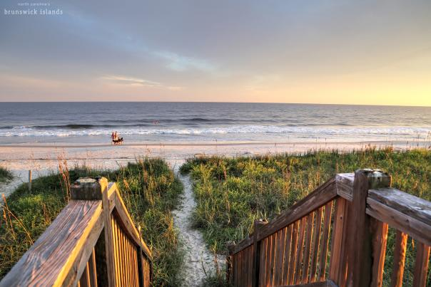 Walkway to a sandy path leading to Holden Beach