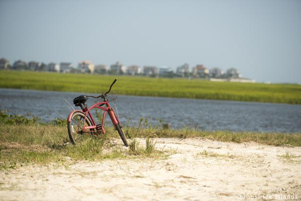 A bike parked beside Sunset Beach Intracoastal Waterway